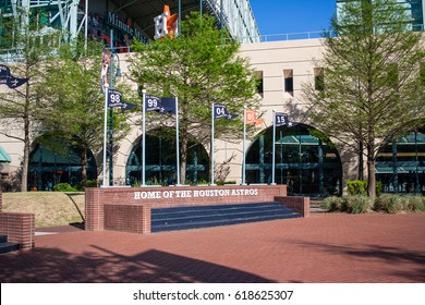 April, 8, 2017, Houston, Texas: A view of Minute Maid Park, home of the Houston Astros, on the west side with the roof open