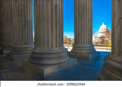 APRIL 8, 2018 - WASHINGTON D.C. - Columns of Supreme Court offers view of US Capitol
