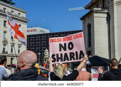 "April 8th, 2017 - Birmingham, UK:  English Defence League (EDF) stages a rally to protest the ""islamisation"" of the UK, amongst other issues. UK is suffering divisions between locals and foreigners"