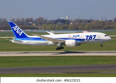Düsseldorf/Germany April 9, 2016: Boeing 787 from ANA taxing at Düsseldorf Airport