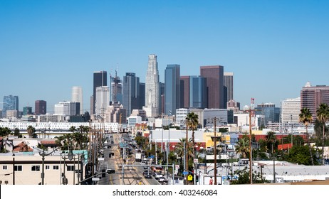 April 9 2016 East Los Angeles CA- A view of downtown LA from East Los Angeles looking down one of the very busy urban streets