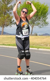 April 9, 2016:Photo of skater in the Menifee Half Marathon & 5K, which is in Menifee California USA