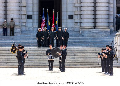 APRIL 9, 2018 - ANNAPOLIS MARYLAND - Midshipmen are seen in formation before lunchtime, US Naval Academy, Annapolis Maryland