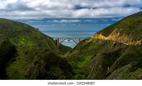 APRIL 9, 2019 - HURRICANE POINT, CA., USA - View of Pacific Coast Highway and Bixby Bridge Route 1, California
