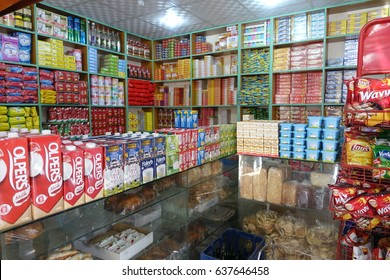 April 9,2017.Raaja baazar ,Gupis ,Pakistan .General grocery store open to serve local and tourists as usual.