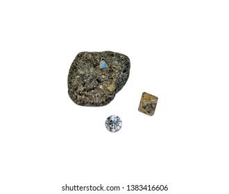 April birthstone, diamond, diamond crystal in kimberlite, isolated on white background