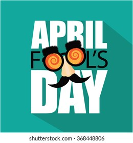 April Fools Day flat design text and funny glasses.
