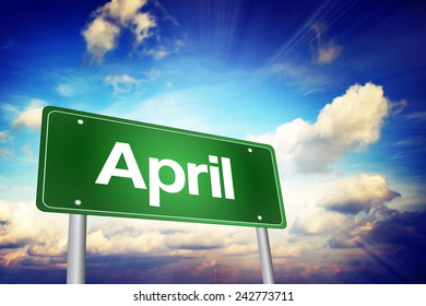 April Green Road Sign, Months of the Year concept