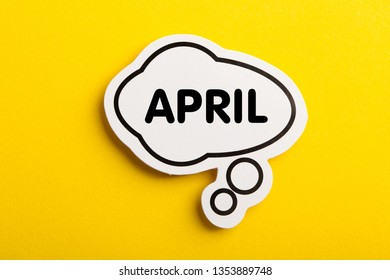 April speech bubble isolated on yellow background.