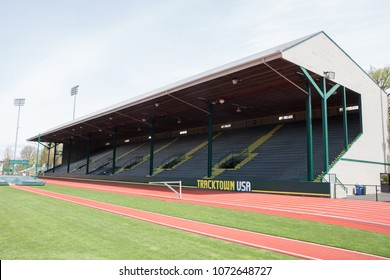 APRIL18, 2018 EUGENE OREGON - The seating or stands at the historic Hayward Field  at the University of Oregon in Eugene Oregon. Home of the Ducks, Prefontaine and the Olympic trials.