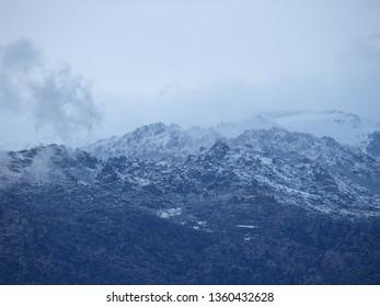 April's snowfall in the Sierra de Guadarrama (Madrid, Spain).