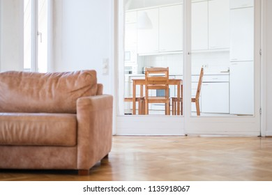aprtment interior of a living room with wooden floor, a couch and kitchen in background