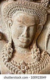 Apsara carved on the wall of Angkor Wat,  cambodia.