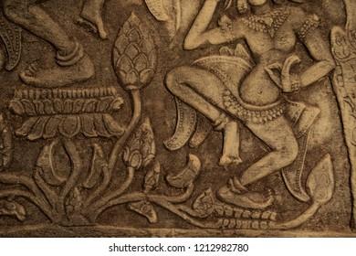 Apsara carvings at sunset at Bayon temple