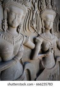 Apsara Close Up. Angkor Wat. Siem Reap. Cambodia.