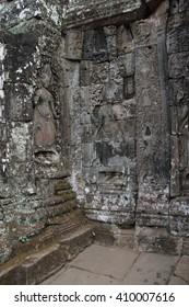 Apsara dancer deva on walls of  Bayon Temple, Angkor Thom,  Cambodia
