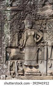 Apsara dancer stone carving at Angkor Wat temple, Siem Reap, Cambodia