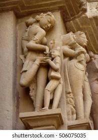 Apsara naked lady washing in morning, sculpture on Varaha Temple, Khajuraho in  India, Asia