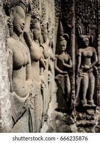 Apsara Sculpture. Angkor Wat. Siem Reap. Cambodia.