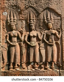 Apsara sculptures at Angkor Wat, made around the 12th Century.