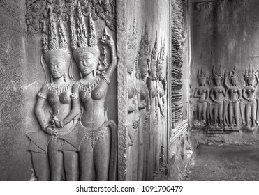 Apsaras - Stone carvings in Angkor Wat, Siem Reap, Cambodia  was inscribed on the UNESCO World Heritage List in 1992.