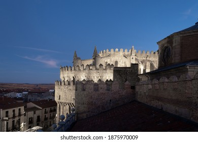 Apse of the cathedral of Ávila, at night, from outside, at the top of the rampart wall