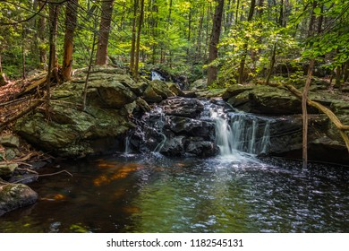 Apshawa Falls in a suburban nature preserve in NJ is surrounded by lush green forest on a summer afternoon
