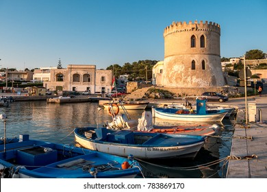 Apulia, Italy August 2017 - Panoramic view of Vado Tower, coastal watchtower and sea, Santa Maria di Leuca, Salento, Apulia, Italy