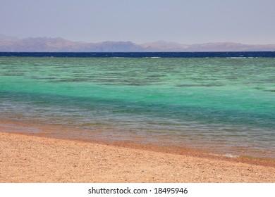 Aqaba gulf between Egypt and Saudi Arabia. Red sea.