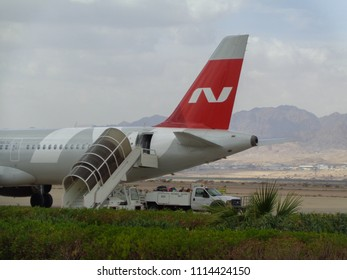 AQABA, JORDAN - FEBRUARY 18 2018: Nordwind Airlines airplane. King Hussein International Airport (Aqaba Airport)