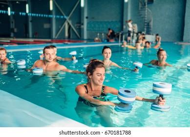 Aqua aerobics, healthy lifestyle, water sport