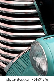 Aqua antique car grill and headlight