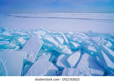 Aqua blue ice pieces from frozen lake