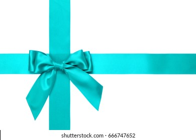 Aqua gift satin ribbon border with bow, over white background