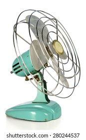 Aqua green vintage fan isolated over white background