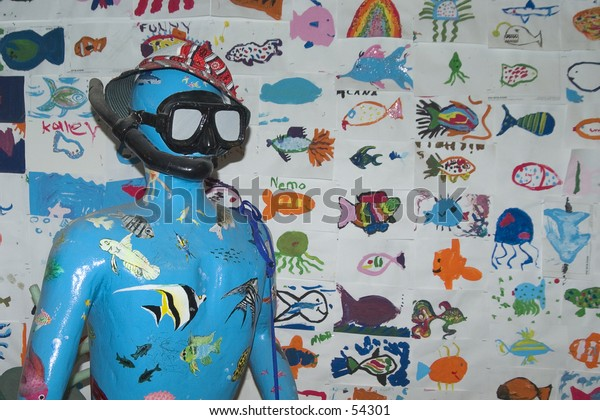 Aqua man with children's drawings.