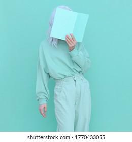 Aqua menthe fashion trends. Casual look Girl minimal aesthetic. Monochrome color design