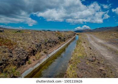 Aquaduct in Cotopaxi National Park, Ecuador home to the Cotopaxi Volcano