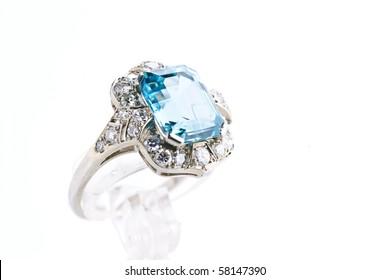 aquamarine ring isolated against a white background