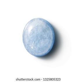 AQUAMARINE stone isolated on white background.