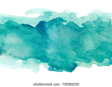 Aquamarine watercolor strip multilayered