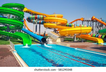 Aquapark sliders with pool