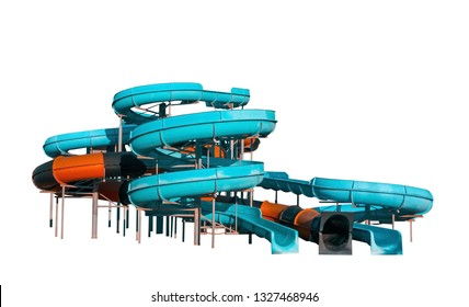 Aquapark slides isolated on white