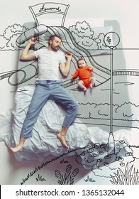 Aquapark. Top view photo of young man and his child sleeping in a big white bed. Dreams concept. Painted dream about summertime, weekend, resort, family activity, entertainment, water, pool, vibes.