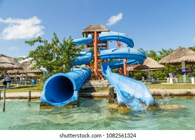 Aquapark. Waterslides in Bacalar