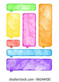 Aquarelle blank speech bubble dialog template. Colored rounded rectangles on white background