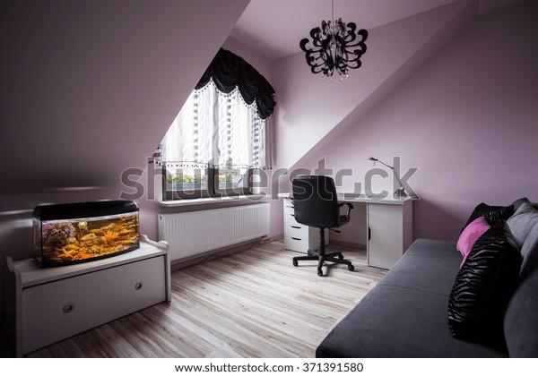 Aquarium Cozy Room Teenage Girl Interiors Stock Image