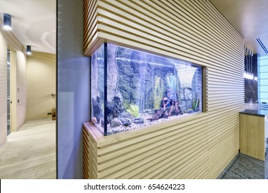 Aquarium in the interior of modern apartment