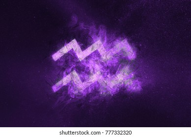 Aquarius Zodiac Sign. Night sky Abstract background