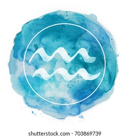 aquarius zodiac sign on watercolor background
